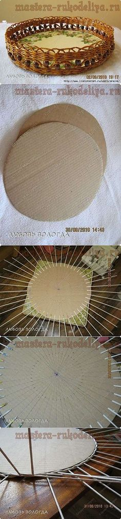 Master class in weaving from newspapers: How to make a bottom for a round tray. Newspaper Basket, Newspaper Crafts, Recycled Crafts, Diy And Crafts, Recycled Magazines, Diy Projects To Try, Craft Projects, Paper Basket Weaving, Magazine Crafts