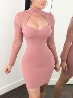 See Through Crochet Sleeve Cut Out Bodycon Dress - Pink