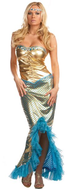 Cheap sexy gold mermaid costume for halloween