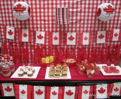 Katrina L's Canada Day / Red & White - Canada Day Party at Catch My Party Canada Day Party, Canada Day 150, Happy Canada Day, Canadian Party, Canadian Food, Canada Day Fireworks, Leaving Party, Cake Templates, Canada Holiday