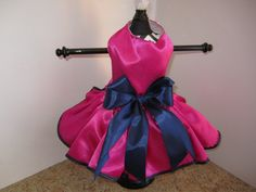 Dog Dress XS Hot pink and Navy By Nina's by NinasCoutureCloset