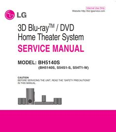 Lg Bh5140s Home Theater System Original Service Manual And Repair Instructions Home Theater Repair Guide Dvd Home Theater System