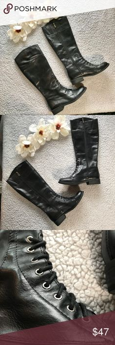 """Vince Camuto Black Women's Boots Used✨✨✨ Vince Camuto  Black Women's Boots  Gently Used Size 7.5 Good Condition Zipper all the way up the sides making these """"lace up"""" boots easy to slip into  Great staple to add to your wardrobe for chilly weather 🍁❄️🍂  OPEN TO ALL OFFERS💕 BUNDLE YOUR LIKES AND I'LL SEND YOU A PRIVATE OFFEF! 💕 Vince Camuto Shoes Lace Up Boots"""