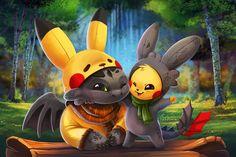 Pikachu and Toothless by TsaoShin.deviantart.com on @DeviantArt