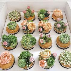 42 ideas for succulent wedding cake cactus cupcakes Succulent Wedding Cakes, Succulent Cupcakes, Garden Cupcakes, Pink Succulent, Flower Cupcakes, Kaktus Cupcakes, Cactus Cake, Cactus Cactus, Plant Based Breakfast