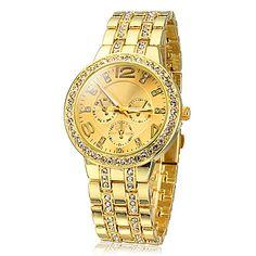 Women's Diamante Gold Dial Alloy Band Quartz Analog Wrist Watch – AUD $ 10.00