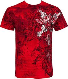 Sakkas Vines and Fleur De Lis Metallic Silver Embossed Cotton Mens T-Shirt
