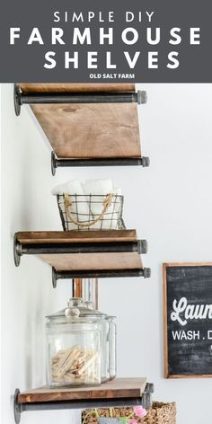 DIY Farmhouse Shelves---make these simple shelves in an afternoon! Perfect fixer upper and farmhouse style. #farmhousestyle #farmhouseshelves #diyshelves #modernfarmhouse #farmhousediy #diyfarmhouse