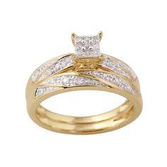 10K Yellow Gold 1/6 Cttw Certified Diamond Square Ladie's 2 pc Bridal Set, Women's