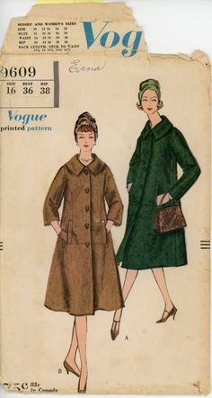 Vogue 9609 Misses 1950s Coat Pattern Day or Evening Fall Winter Spring Coat Two Sleeve Lengths Womens Vintage Sewing Pattern Bust 36 UNCUT. $18.00, via Etsy.