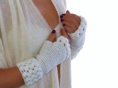 Crochet White  fingerless gloves, Mittens, Arm Warmers wool acrilyc blend yarn, weave braids. €30.00, via Etsy.
