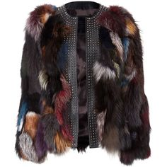 "fur jacket ""crush"" (301.035 RUB) ❤ liked on Polyvore featuring outerwear, jackets, coats, black jacket, studded jacket, black slim jacket, multi color jacket and collarless jacket"