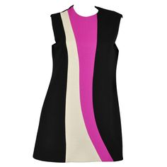 Pierre Cardin 1960s Color Blocked Couture Tunic Dress | From a collection of rare vintage day dresses at https://www.1stdibs.com/fashion/clothing/day-dresses/