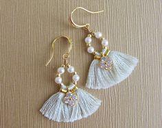 Prom earrings, Small mint tassel earrings, Boho bridesmaid earrings, Fringe earrings, Bridesmaid gift, Bohemian wedding tassel earrings