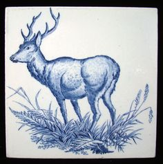Wedgwood Game Subjects Tile ~ Antlered Buck 1876 Antique Tiles, Vintage Tile, Tile Murals, Delft, Wedgwood, Love Art, Painting & Drawing, Goat, Netherlands