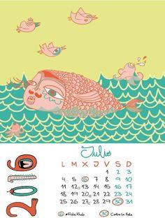 #CALENDARIO #FEMINISTA #ARTE #ILUSTRACION #CROWDFUNDING - Calendario Feminista p.nitas* 2016, mes de julio. Crowdfunding Verkami: http://www.verkami.com/projects/13399-calendario-feminista-pnitas-2016
