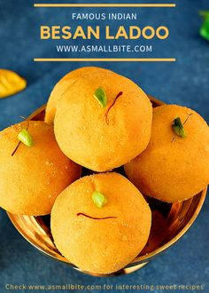 Besan Ladoo recipe / Besan Laddu recipe is the most famous Indian sweet which doesn't need any intro. It's a simple sweet that can be easily made without any great effort, the tiring part is roasting the besan flour only. Easy Indian Dessert Recipes, Indian Desserts, Indian Sweets, Indian Snacks, Indian Food Recipes, Besan Laddu Recipe, Laddoo Recipe, Appam Recipe, Other Recipes