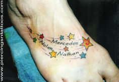 star tattoo with kids names