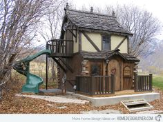 Bavarian Cottage Playhouse - traditional - outdoor playsets - salt lake city - Fancy Builder, Inc. Kids Indoor Playhouse, Outside Playhouse, Backyard Playhouse, Build A Playhouse, Backyard Playground, Outdoor Playhouses, Playhouse Ideas, Playhouse Slide, Castle Playhouse