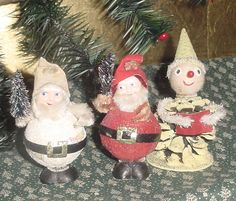 Vintage Christmas Lot PINECONE ELF DECORATION with Spun Cotton Head and Mica Glitter Paper Mache ROLY POLY SANTA/GNOME ORNAMENTS with Chenille & Mini Bottle Brush Trees All Made in Japan.