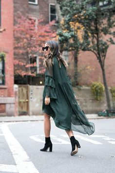 West Village :: Ruffled Dress & Suede boots :: Outfit ::  Dress :: H&M Jacket :: Burberry Shoes :: Gianvito Rossi Bag :: Prada Accessories :: Karen Walker sunglasses, Wanderlust + Co ring, Essie 'Wicked' polish Published: November 7, 2016
