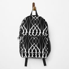 Black Backpack, Fashion Backpack, Clutches, Traveling By Yourself, Print Design, Curves, Backpacks, Black And White, Printed