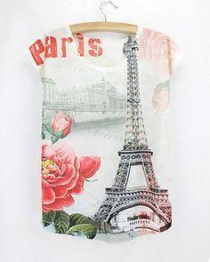 t shirts eiffel tower flower femme short sleeve cotton thin summer tops  Summer Tops ad7e7beffd0