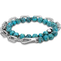 John Hardy Sterling Silver Classic Chain Turquoise with Black Matrix... ($795) ❤ liked on Polyvore featuring men's fashion, men's jewelry, men's bracelets, mens turquoise bracelets, mens chain link bracelets, mens bead bracelets, mens sterling silver bracelets and john hardy men's bracelets