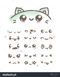 stock-vector-set-kawaii-emoticons-274204487.jpg (1250×1600)