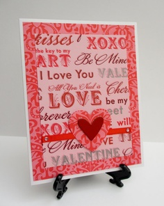 Handmade Pink & Red Sentiment Valentine's Day Love Card by Anything Scrappy http://www.anythingscrappy.com/