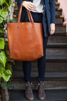 Simple leather tote and lace-up boots...