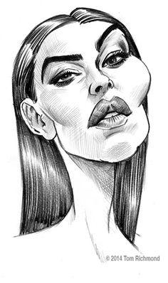 Monica Bellucci por Tom Richmond - Caricaturas de Famosos