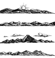 Mountain Drawing Stock Photos And Images Band Tattoos For Men, Forearm Band Tattoos, Line Tattoos, Body Art Tattoos, Sleeve Tattoos, Small Tattoos, Tattoos For Guys, Berg Illustration, Mountain Illustration