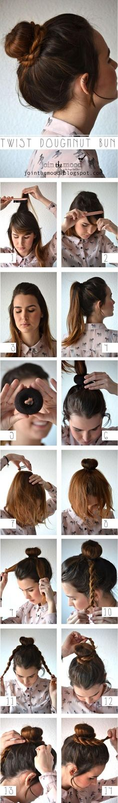 SHORT/THIN HAIR Bun--do as a Low/Side/High bun. Use a sock bun or bun roll that matches Ur hair. The ends can be braided as shown or loosely wrapped around the bun &/or pinned around & into the center to hide the donut look. Or leave the ends down & curl them, or if Ur hair is naturally curly just wet them down & scrunch. Very cute
