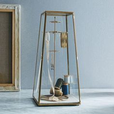 Glass jewelry display case from west elm