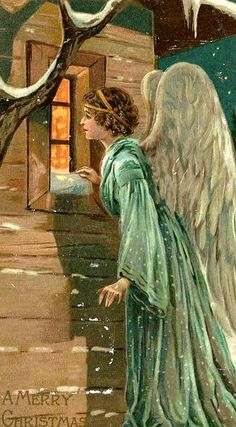"""And suddenly, there was with the angel a multitude of the heavenly host, praising God and saying, """"Glory to God in the highest, and on earth, peace, goodwill to men."""" Luke 2: 13, 14 Vintage Guardian Angels"""