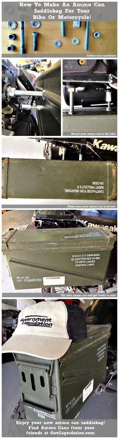 Repurposing time! How to make an Ammo Can Saddlebag for your bike or motorcycle! A very awesome Ammo Can DIY.