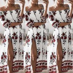 Sexy Floral Print Side Slit Maxi Dress