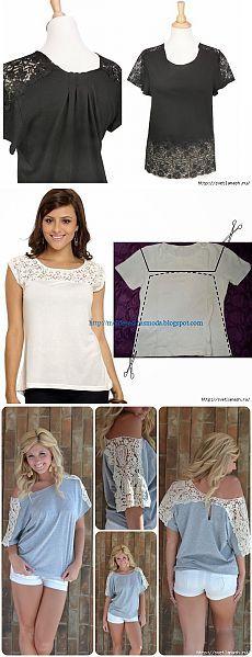 Три идеи для переделки футболки кружевом.