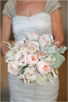 White, mint, and blush bridal bouquet.