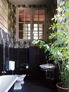 A%20fishtail%20palm%20with%20a%20backdrop%20of%20Farrow%20&%20Ball%20wallpaper%20in%20the%20black%20bathroom.