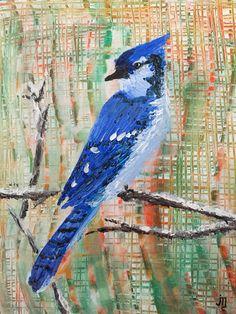 """Box Seat"" - J. Travis Duncan #jtravisduncan #panoplei (blue jay perched on limb - contemporary art - palette knife painting) panoplei.etsy.com"