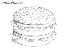 How to Draw a Hamburger Food Drawing Easy, Drawing Ideas, Hamburger Drawing, How To Draw Wolverine, Easy Drawings, Pencil Drawings, Watercolor Food, Bullet Journal Mood, Pencil Painting