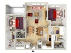 2 bedroom - Fresco floor plan - rendering - Brand new apartments! 3d Rendering, House Floor Plans, Renting A House, Fresco, Future House, Condo, Sweet Home, Flooring, How To Plan