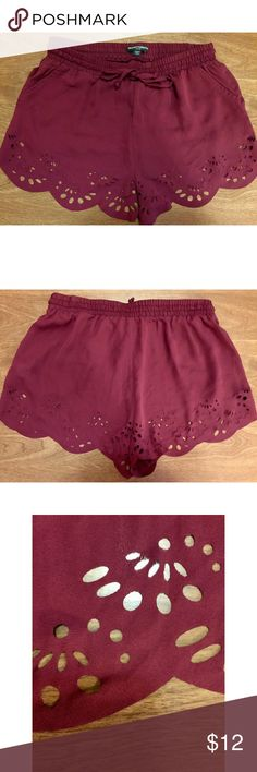 """PacSun - Burgundy Soft Shorts Brandy Melville meets PacSun! Adorable and delicately designed shorts. Sheer material with a very stretchy waist. In great condition. Shorts say """"one size"""" and are definitely stretchy, but they fit a Small or medium best. Brandy Melville Shorts"""