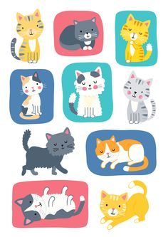 Cute Cats by Charly Lane Cute Cartoon Drawings, Cartoon Dog, Wallpaper Kawaii, Cat Pattern Wallpaper, C Is For Cat, Cat Icon, Quirky Art, Cat Pose, Cat Crafts