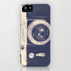 Retro - Vintage Black Film Camera on Beige Background  iPhone Case by Andrea Caroline  - $35.00