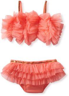 79df90585a Mud Pie Girls 2-6x Ruffle Bikini Swimsuit Cute Kids