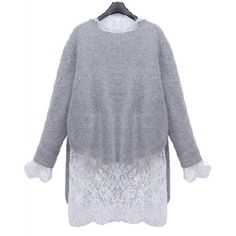 Stylish Ruff Collar Long Sleeve Lace Blouse + Solid Color Sweater Women's Twinset #CLICK! #clothing, #shoes, #jewelry, #women, #men