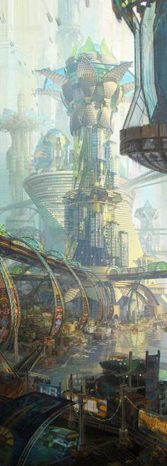 Future city, cyberpunk and sci-fi inspiration ArtStation – Nuevo Guayaquil, Kirsten Zirngibl Cyberpunk City, Ville Cyberpunk, Cyberpunk Kunst, Futuristic City, Futuristic Architecture, Fantasy City, Fantasy Places, Fantasy World, Sci Fi Fantasy